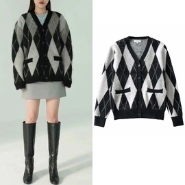 Contrast Color Plaid Sweater Coat Loose Slim Sweater NSLD30566