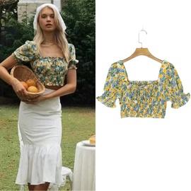 Floral Puff Sleeve Chiffon Shirt   NSLD30564