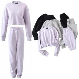 Round Neck Sweater High Waist Fleece Pants Set  NSLD30580