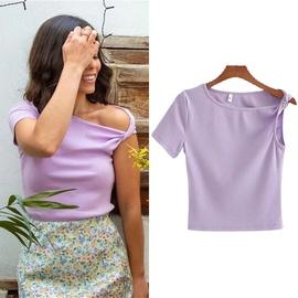 Sexy Irregular Off-the-shoulder T-shirt  NSLD30584
