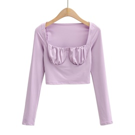 Retro Square Collar Chest Folds Bottoming Shirt  NSAC30605