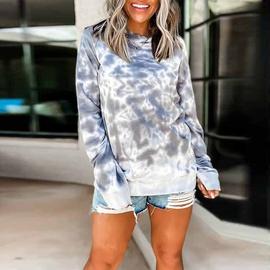 Tie-dye Loose Long-sleeved Pullover Sweatershirt NSSI30833