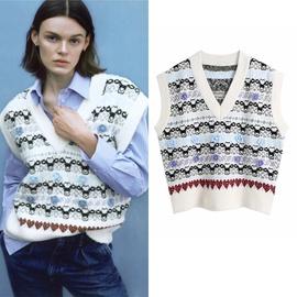 Temperament V-neck Jacquard Knitted Vest  NSLD30900