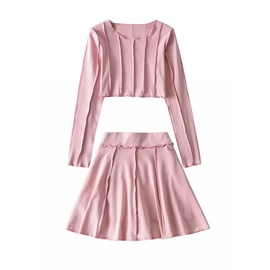 Round Neck Pullover Top Stretch A-line Skirt Two-piece Suit NSLD30903