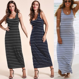 Striped Sleeveless Fashionable Sexy Beach Dress  NSOY30914
