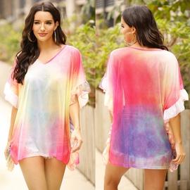 Stitching Ruffled Loose T-shirt Beach Blouse  NSOY30919