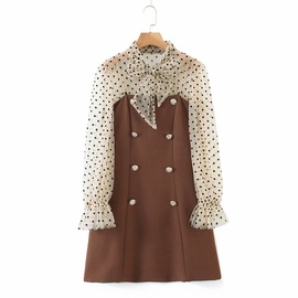Polka Dot Double-breasted Suspender Dress Set NSAM30941