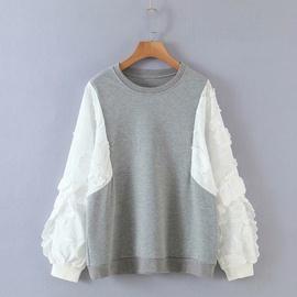 Fake Two-piece Flower Sleeve Stitching Sweatershirt NSAM30957
