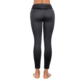 Black Mesh Leather Stitching Yoga Pants   NSLX30972
