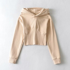 Pure Color Stitching Short Long Sleeve Hoodie NSHS30988