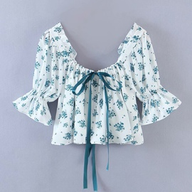 Blue And White Porcelain Bow Ribbon Drawstring Blouse  NSAM31084