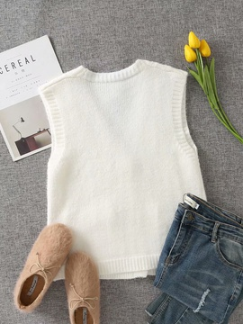 Sleeveless Loose V-neck Knitted Vest NSAM31120