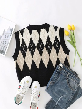 Fashion V-neck Diamond Knited Vest  NSAM31132