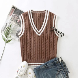 Fashion V-neck Color-blocking Twist Woven Knitted Vest   NSHS31216