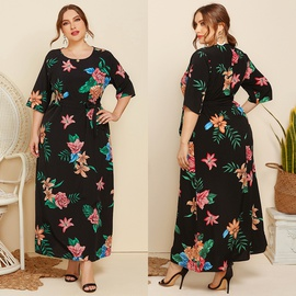 Plus Size Round Neck Printing Short-sleeved Dress  NSJR31229
