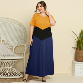 Plus Size Color Matching Long Short-sleeved Dress  NSJR31232