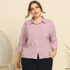 Plus Size Striped Long-sleeved Lapel Pocket Shirt  NSJR31233