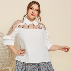 Plus Size Lapel Perspective Embroidered Stitching Shirt  NSJR31234