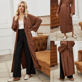 Belt Waist Single-breasted Coat  NSLM31238