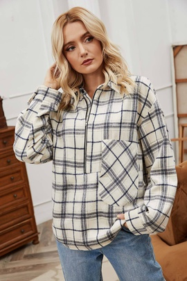 Brushed Plaid Lapel Loose Long-sleeved Coat NSLM31239