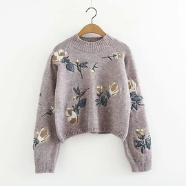 Flowers Embroidery Round Neck Sweater  NSLD31260