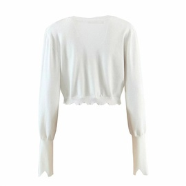 Casual Simple Irregular Frayed Knit Sweater   NSLD31265