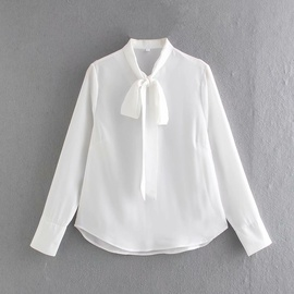 Simple Tie Knot White Chiffon Shirt  NSAM31300