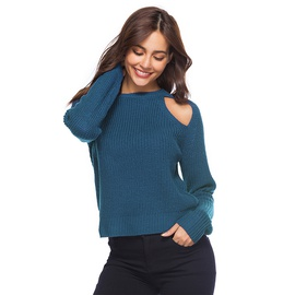 Sexy Loophole Round Neck Knit Sweater NSYH31404