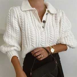Twist Knit Lapel Sweater NSHS31414