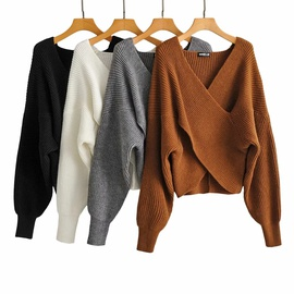 Fashion Cross V-neck Loose Pullover Sweater NSHS31422