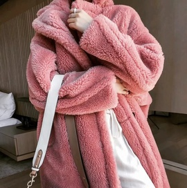 Lapel Long Warm Lamb Wool Coat NSHS31434