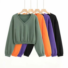V-neck Plus Velvet Loose Pullover Warm Top  NSHS31436