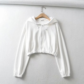 Zipper Hoodie Solid Color Short Long Sleeve Sweater NSHS31477