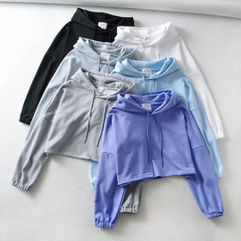 Short Drawstring Solid Color Hoodie Jacket NSHS31481