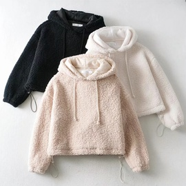Lamb Wool Loose Drawstring Hooded Pullover  NSHS31506