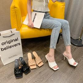 Fashion Square Toe Open-toed Stiletto Slippers  NSHU31570