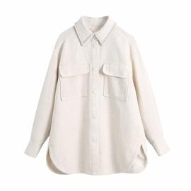 Lapel Big Pockets Beaded Shirt-style Jacket  NSAM31762