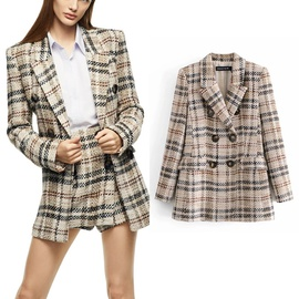 Hit Color Plaid Double-breasted Mid-length Blazer NSLD31763
