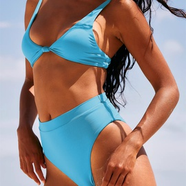 Sexy High Waist Solid Color Double-sided Split Swimsuit NSHL31821