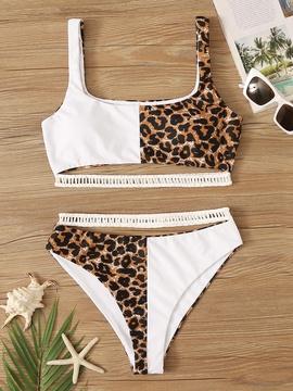 New Leopard Print Color Matching Sexy Split High Waist Bikini  NSHL31843