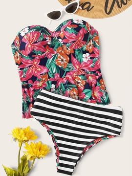 New Printing Split High Waist Briefs Swimsuit  NSHL31846