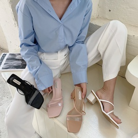 Fashion Transparent Word Belt Thick Heel Slippers NSHU31914