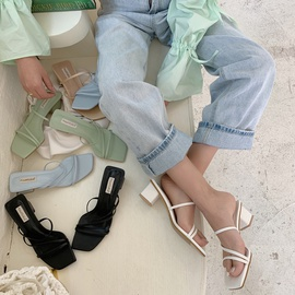 Fashion Thick-bottom Mid-heeled Slippers NSHU31919