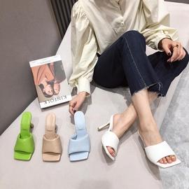 Plaid Pattern High-heeled Square Toe Slippers NSHU31938
