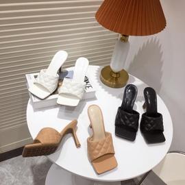 Rhombus Square Toe High-heeled Slippers  NSHU31940