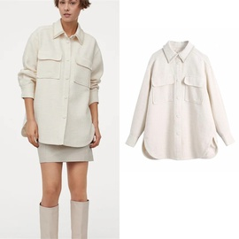 Loose Mid-length Beaded Shirt Coat NSLD32002