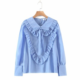 Doll Collar Loose Bow Tie-up Shirt  NSAM32050