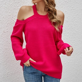 Off-shoulder Long-sleeved Sweater NSYH32091
