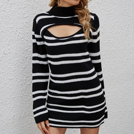 Striped Contrast Color Pullover Sweater NSYH32092