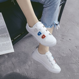 Leather Flat White Canvas Shoes  NSNL32123